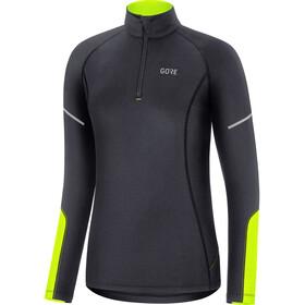 GORE WEAR M Mid Long Sleeve Zip Shirt Women, negro/amarillo